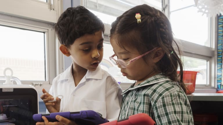 """Kindergarten students from Carlingford West public School at work in their """"maker space""""."""