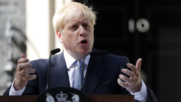 """""""The buck stops here"""": Britain's new Prime Minister Boris Johnson speaks outside 10 Downing Street."""