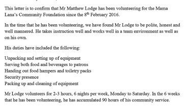 A letter detailing volunteer work undertaken by Matt Lodge.