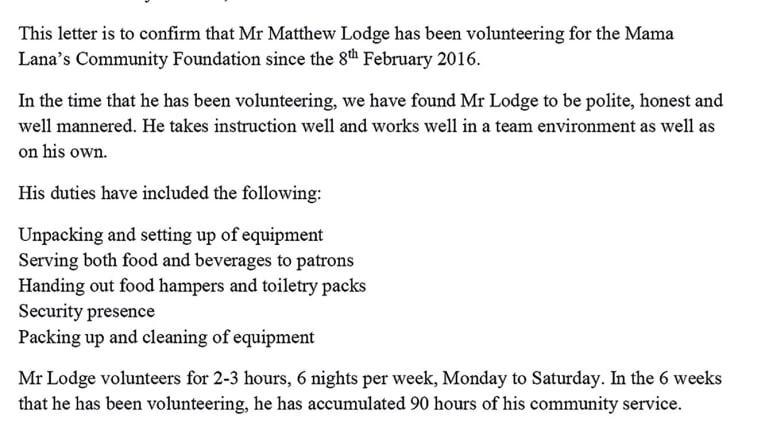 A letter detailing volunteer work undertaken by Matt Lodge.