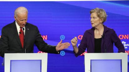 Ascendent Elizabeth Warren gets a reality check as rival Democrats attack