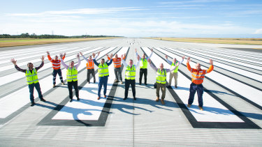 The completed new Brisbane Airport runway, which runs parallel to the existing main runway.