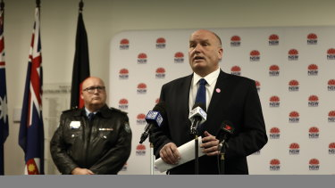 NSW Police Minister David Elliott and COVID-19 Police Operations Commander Assistant Commissioner Scott Whyte on Saturday.