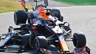 Max Verstappen and Lewis Hamilton crash during the Italian Grand Prix at Monza.