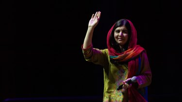 Malala Yousafzai speaking in Sydney at a Growth Faculty event last year.