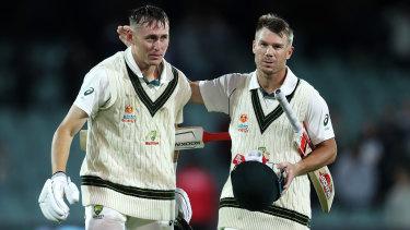Australia's winning combination Marnus Labuschagne, left, and David Warner.