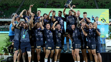 The Cowboys celebrate their NRL Nines success in Perth last month.