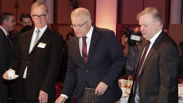 US Ambassador to Australia Arthur B. Culvahouse jnr, Prime Minister Scott Morrison and Opposition Leader Anthony Albanese at Parliament House in October.