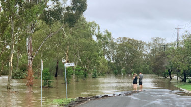Flooding at Myall Creek in Dalby on Sunday.