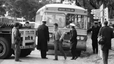 A school bus tries to navigate the blockade in Bendigo.