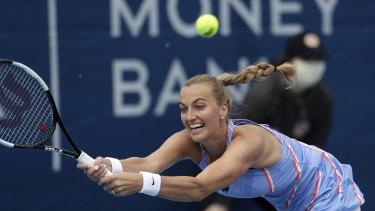 Kvitova battles to land a return during her victory in Prague.