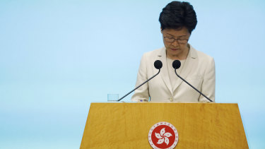 Hong Kong chief executive Carrie Lam listens to reporters' questions during a press conference at the Legislative Council on Tuesday.