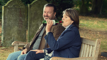 Ricky Gervais and Penelope Wilton in After Life.