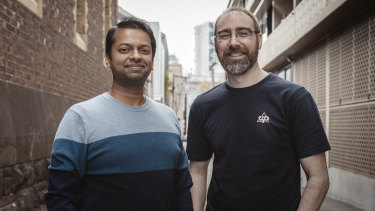 Up co-founder Dom Pym (L) and Transferwise head of banks Murali Akella.
