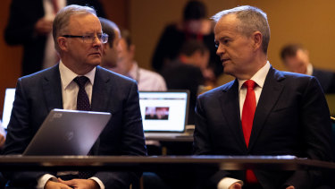 Federal Labor Leader, Anthony Albanese with former leader Bill Shorten, at the ALP conference in Sydney in March.