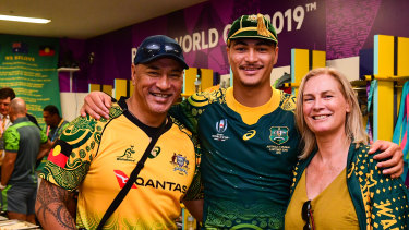 Jordan Petaia and his parents Tielu and Helen after Australia's 45-10 win over Uruguay at last year's Rugby World Cup.