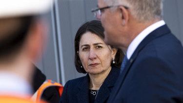 NSW Premier Gladys Berejiklian and Prime Minister Scott Morrison in Sydney on Monday.