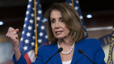 House Speaker Nancy Pelosi heaps scorn on Attorney-General William Barr.