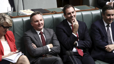 Labor finance spokesman Jim Chalmers (second from right) with Labor frontbenchers on Wednesday.
