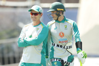 Coach Justin Langer, left, and captain Tim Paine at the SCG last month.