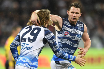 'Sky's the limit': Geelong's Patrick Dangerfield (right) is confident heading into the finals.