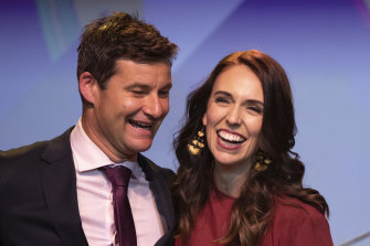 Jacinda Ardern is congratulated by her partner Clarke Gayford after she won a second term as New Zealand Prime Minister last year.