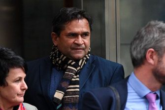 Nicky Winmar leaves court on Friday.