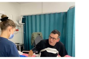 Premier Daniel Andrews, pictured in intensive care in March, is due to return to work later this month.