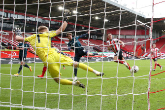 Patrick Bamford scores for Leeds against Sheffield United at Bramall Lane.