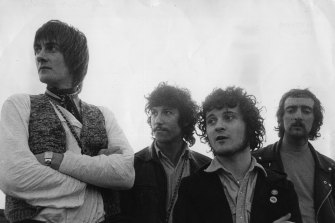 Blues, rock 'n' roll and progressive pop influenced band Fleetwood Mac, when their instrumental single 'Albatross' was topping the British charts. The line up, from left to right; Mick Fleetwood, Peter Green, Jeremy Spencer and John McVie.