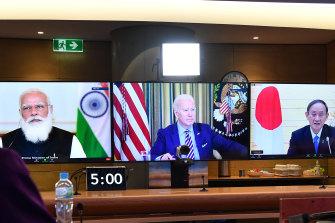 Virtual summit: Scott Morrison talks to fellow Quad leaders last week.