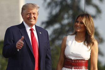 "President Donald Trump and first lady Melania Trump at the ""Salute to America"" event on July 4."