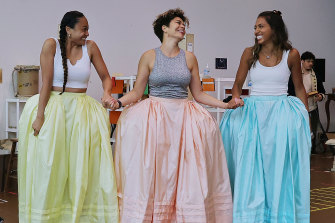 Sister act: Elandrah Eramiha (Peggy), Akina Edmonds (Angelica) and Chloé Zuel (Eliza) try out their costumes.