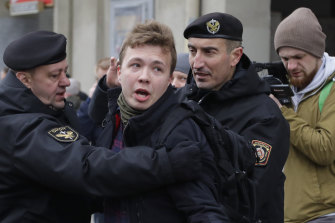 Roman Protasevich, pictured here being detained at a protest in Minsk in 2017, is a well-known opposition activist.