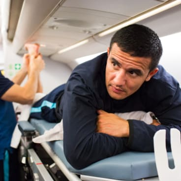 Creature comforts: Socceroos treated to mid-air recovery aboard chartered flight after last year's qualifier against Honduras.