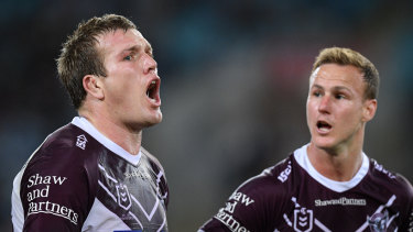 Jake Trbojevic (left) and Daly Cherry-Evans react to the sin-binning in the loss to South Sydney.