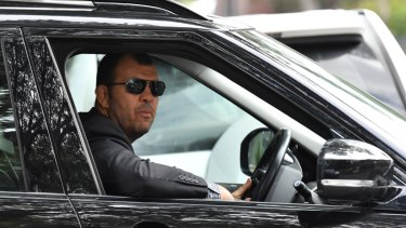 Wallabies coach Michael Cheika leaves Rugby Australia headquarters on Friday.