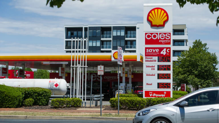 Unleaded fuel cost 155.9 cents per litre at the Shell petrol station in Dickson on Friday.