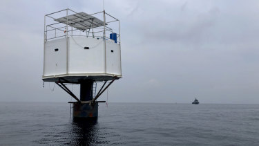 A floating home lived in by an American man and his Thai partner in the Andaman Sea, off Phuket island, Thailand.