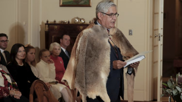 Minister for Indigenous Australians Ken Wyatt wore a booka to the swearing-in ceremony at Government House.
