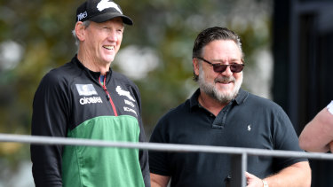 Wayne Bennett with Russell Crowe at Redfern on Tuesday morning.