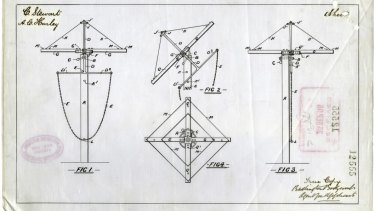 Patent design for what would become the iconic Hills Hoist.