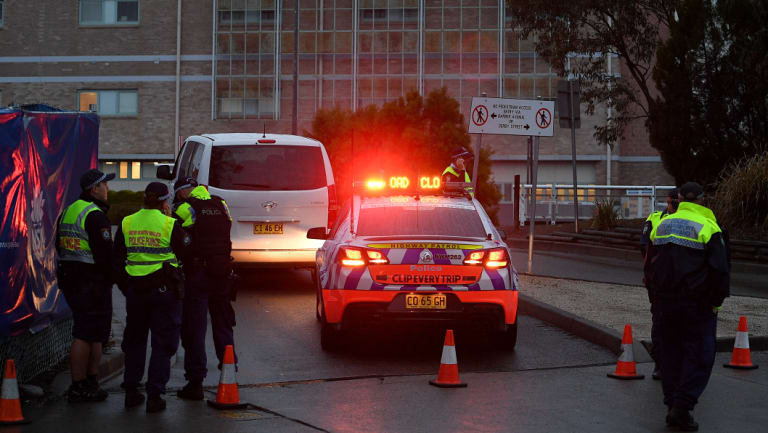 Police outside Nepean Hospital on Thursday evening.