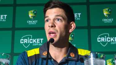 Thrown into the hot seat: Fill-in Test captain Tim Paine.