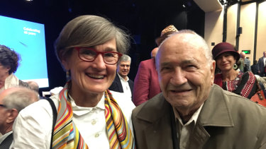 Opera House CEO Louise Herron and Joe Bertony, inventor of the Opera House erection arch at the building's 45th anniversary.