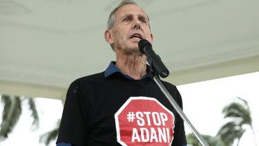"Former Greens leader Bob Brown leading a rally in Mackay. Senator Canavan warned the ""Bob Brown effect"" was frustrating regional communities."