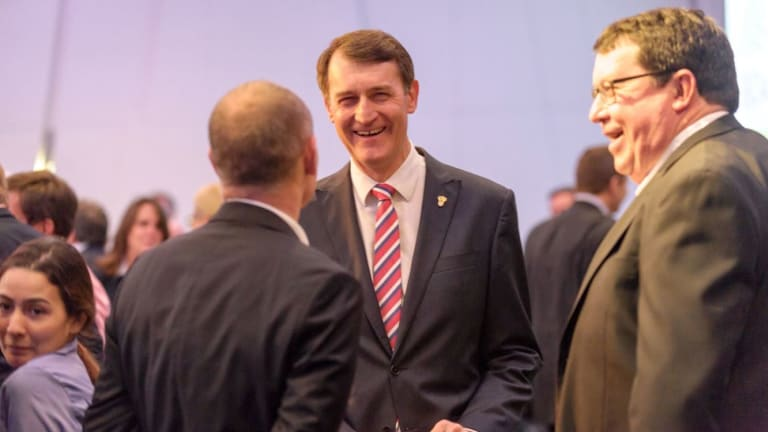 Lord Mayor Graham Quirk, with Campbell Newman (back to camera) and former transport minister and deputy premier Paul Lucas.