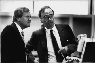 Rupert Murdoch (right) with his Australian managing director Ken Cowley on January 6, 1987.