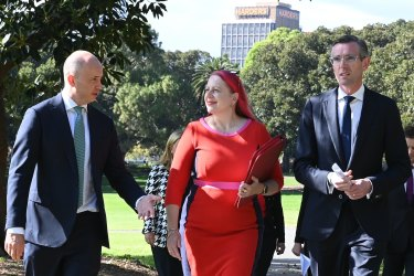 NSW Treasurer Matt Kean, Chair of Domestic Violence NSW Annabelle Daniel and Premier Dominic Perrottet at the domestic violence announcement.