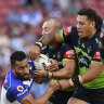 The tackle in which Raiders prop Josh Papalii (right) was sent off.